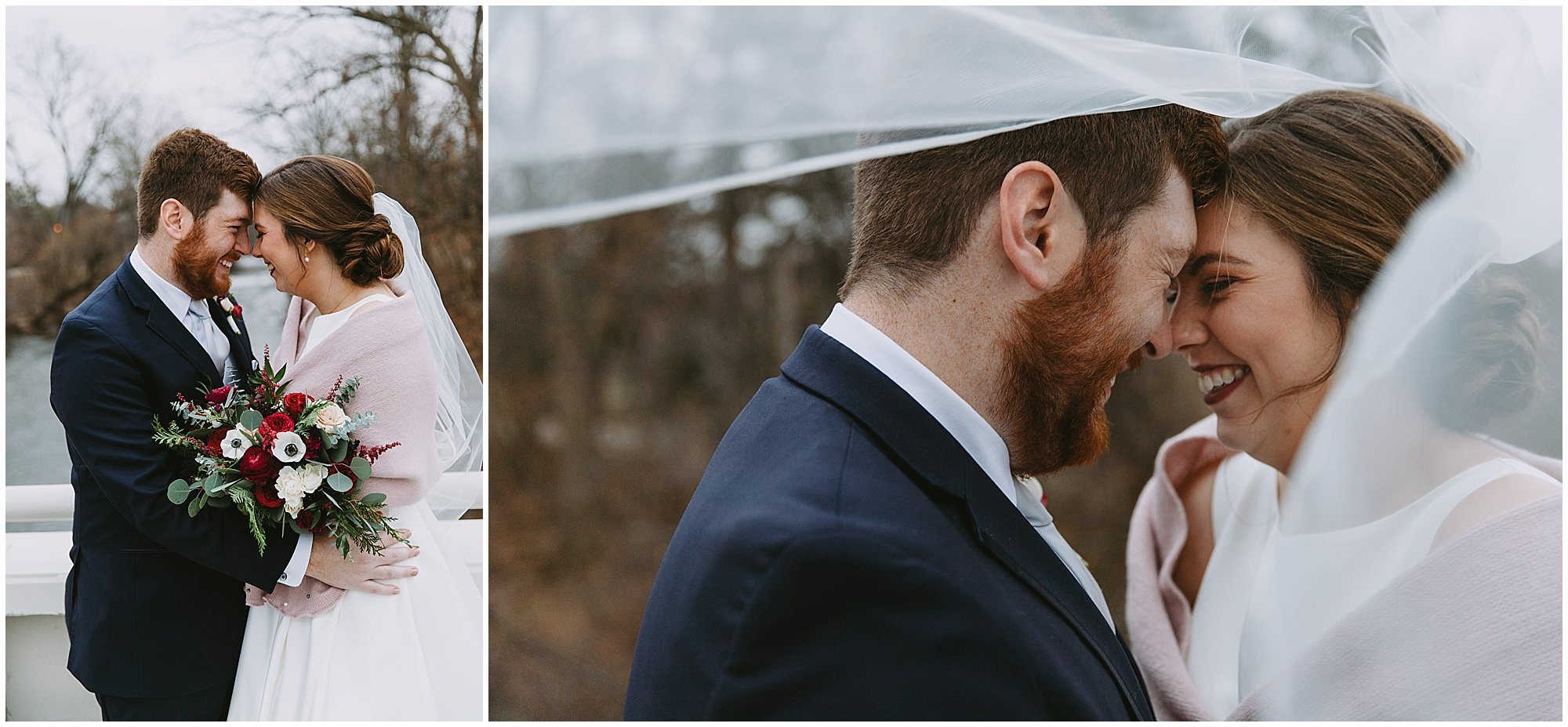 Under veil bride and groom
