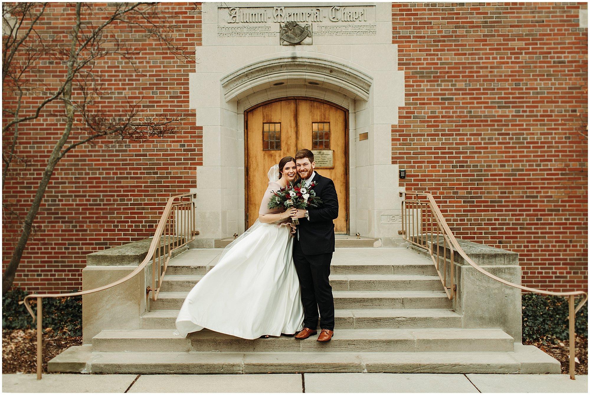 Michigan State Alumni Memorial Chapel Bride and Groom