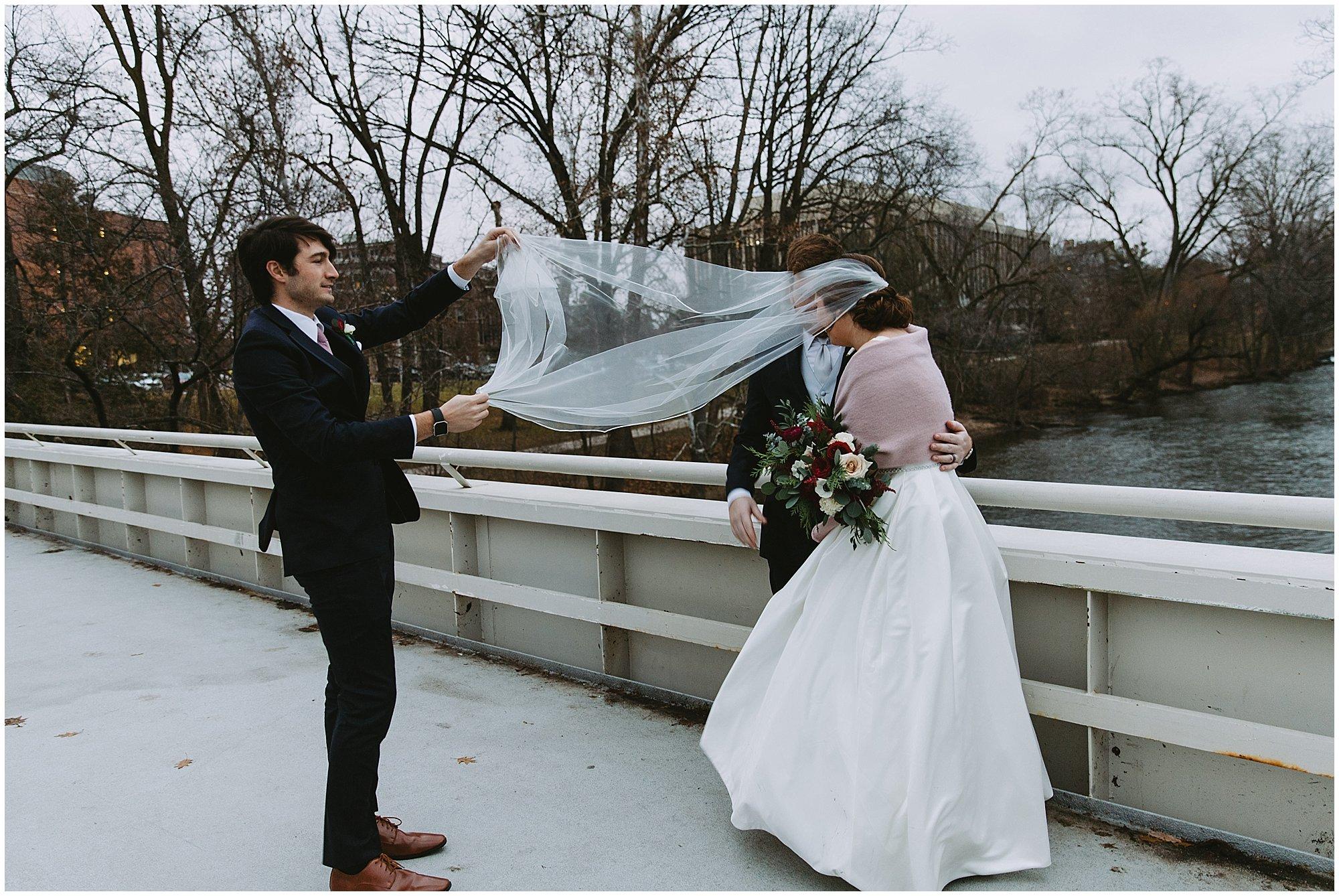 Behind the scenes under veil shot wedding photography