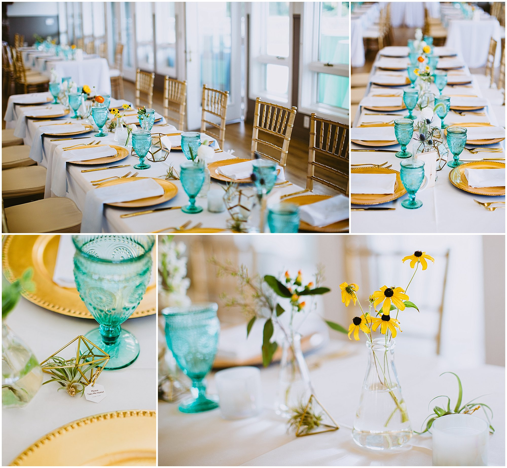 Camp Blodgett boho geometric wedding reception