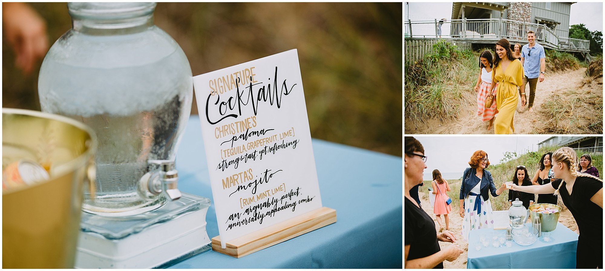 wedding cocktails hand lettered sign