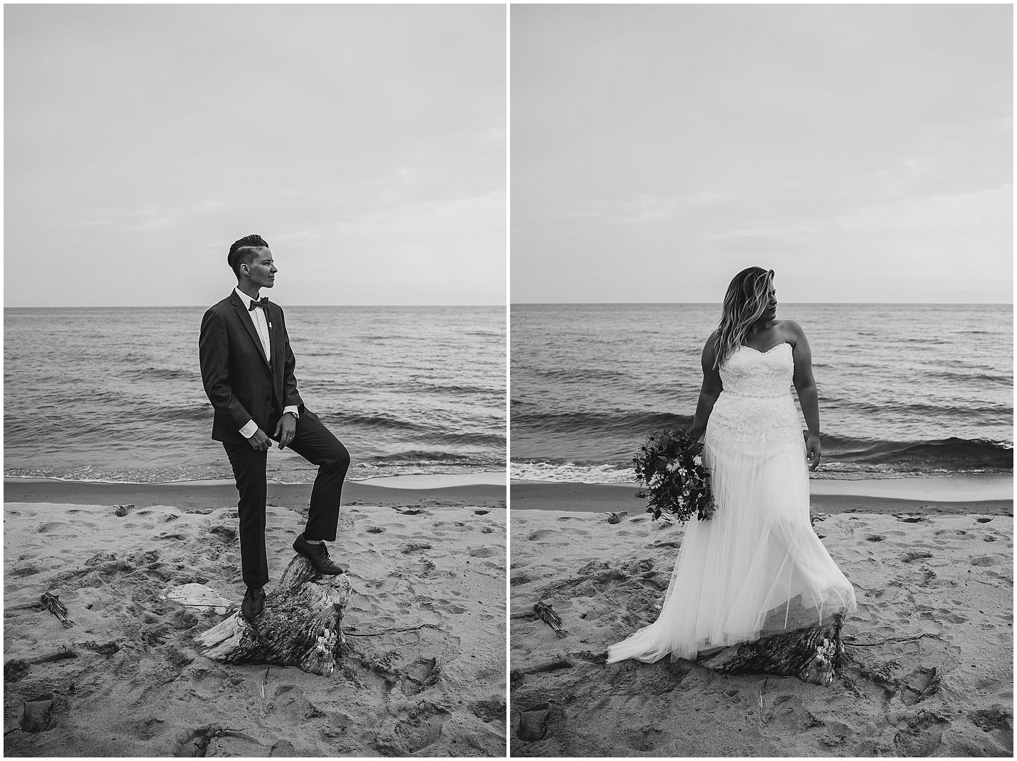 lgbtq wedding couple on the beach at lake michigan