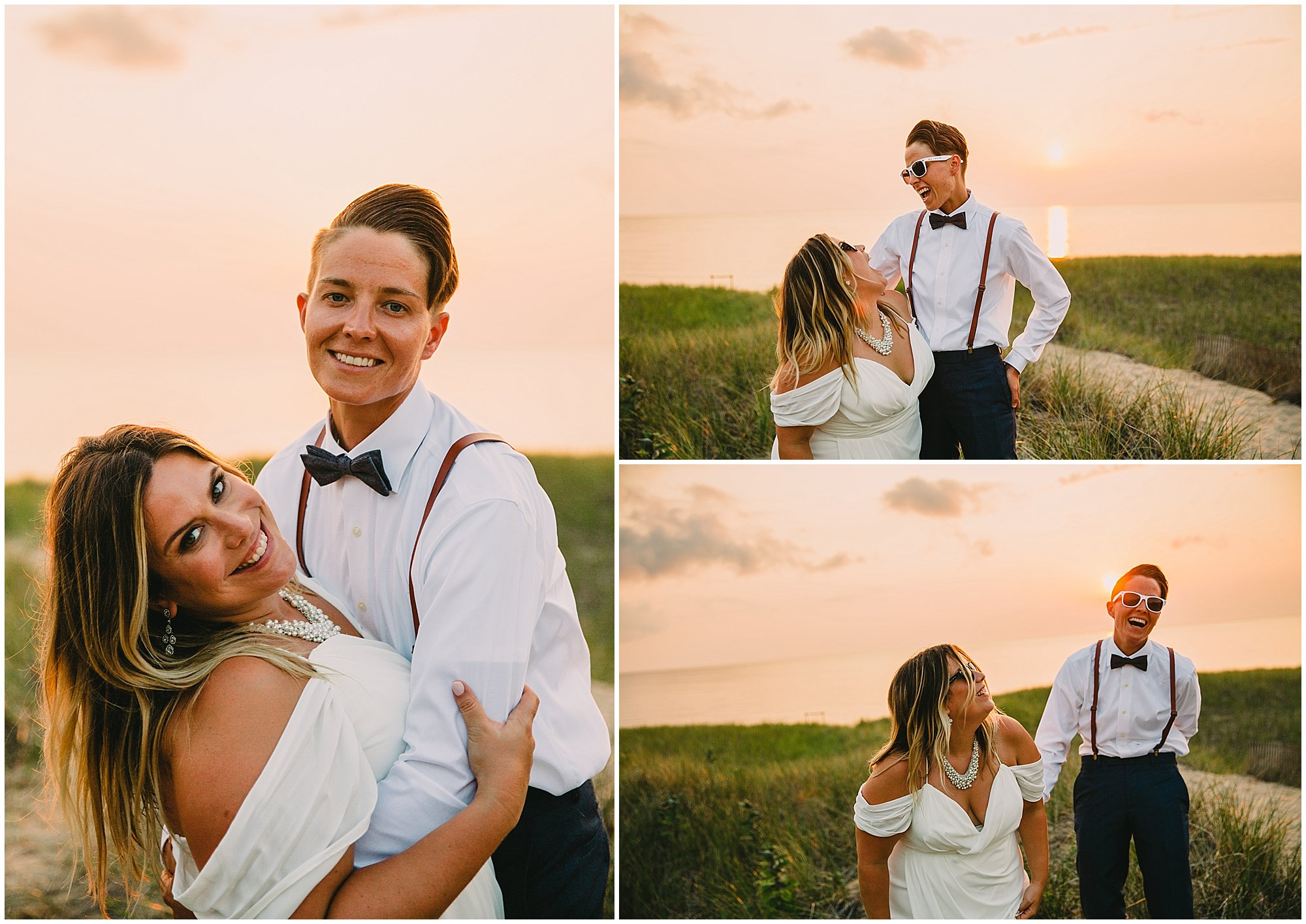 lgbtq wedding brides sunset
