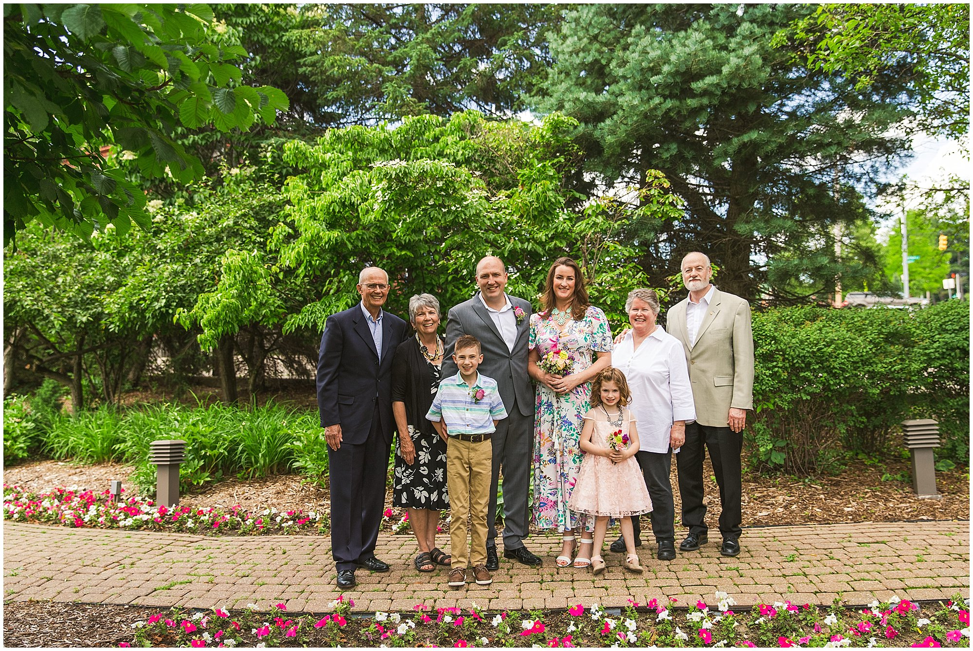 blended family wedding portrait