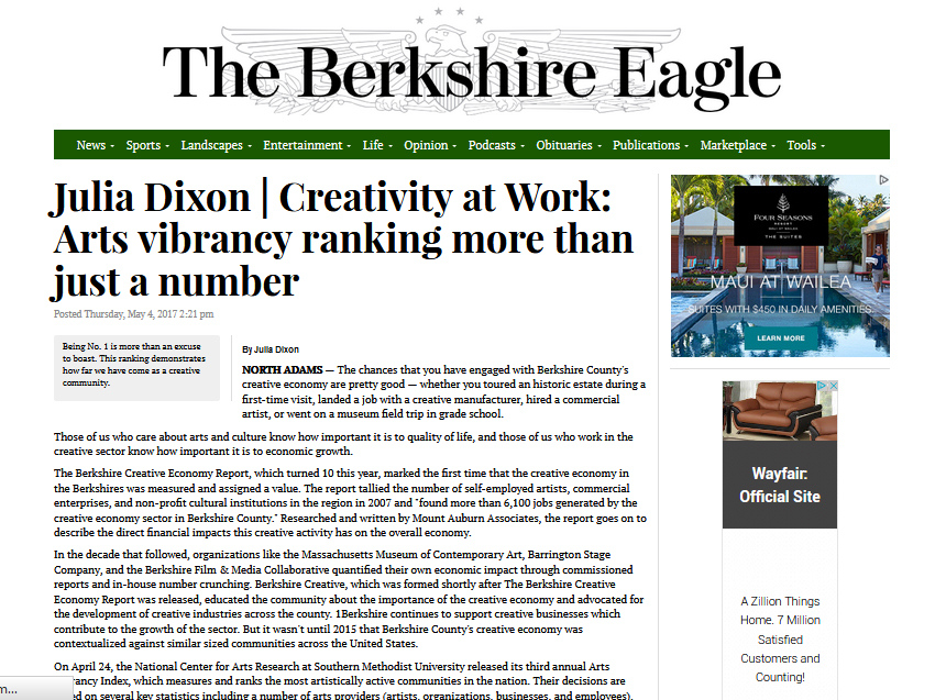 THE BERKSHIRE EAGLE  May 4, 2017 Creative Economy Column