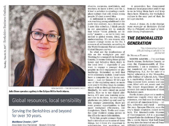 THE BERKSHIRE EAGLE  March 26, 2017 Young Professionals Column