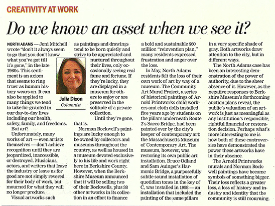 THE BERKSHIRE EAGLE  July 23, 2017 Creative Economy Column