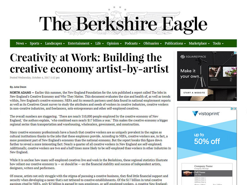 THE BERKSHIRE EAGLE  October 1, 2017 Creative Economy Column