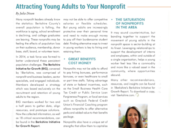 BERKSHIRE NONPROFIT CONNECTIONS  January 2018 (pg 29) Young Professionals Column