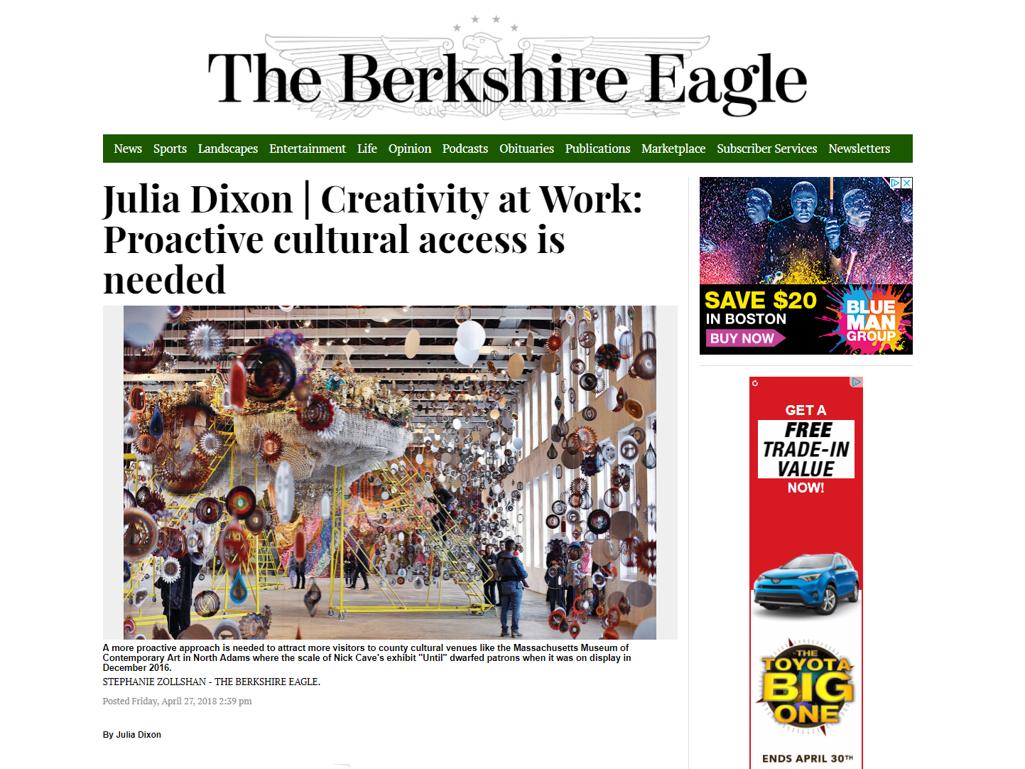 THE BERKSHIRE EAGLE  April 29, 2018 Creative Economy Column