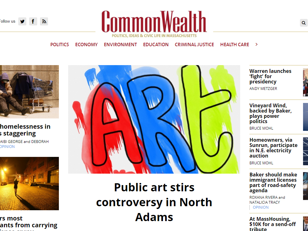 COMMONWEALTH MAGAZINE  February 10, 2019 Public Art Editorial