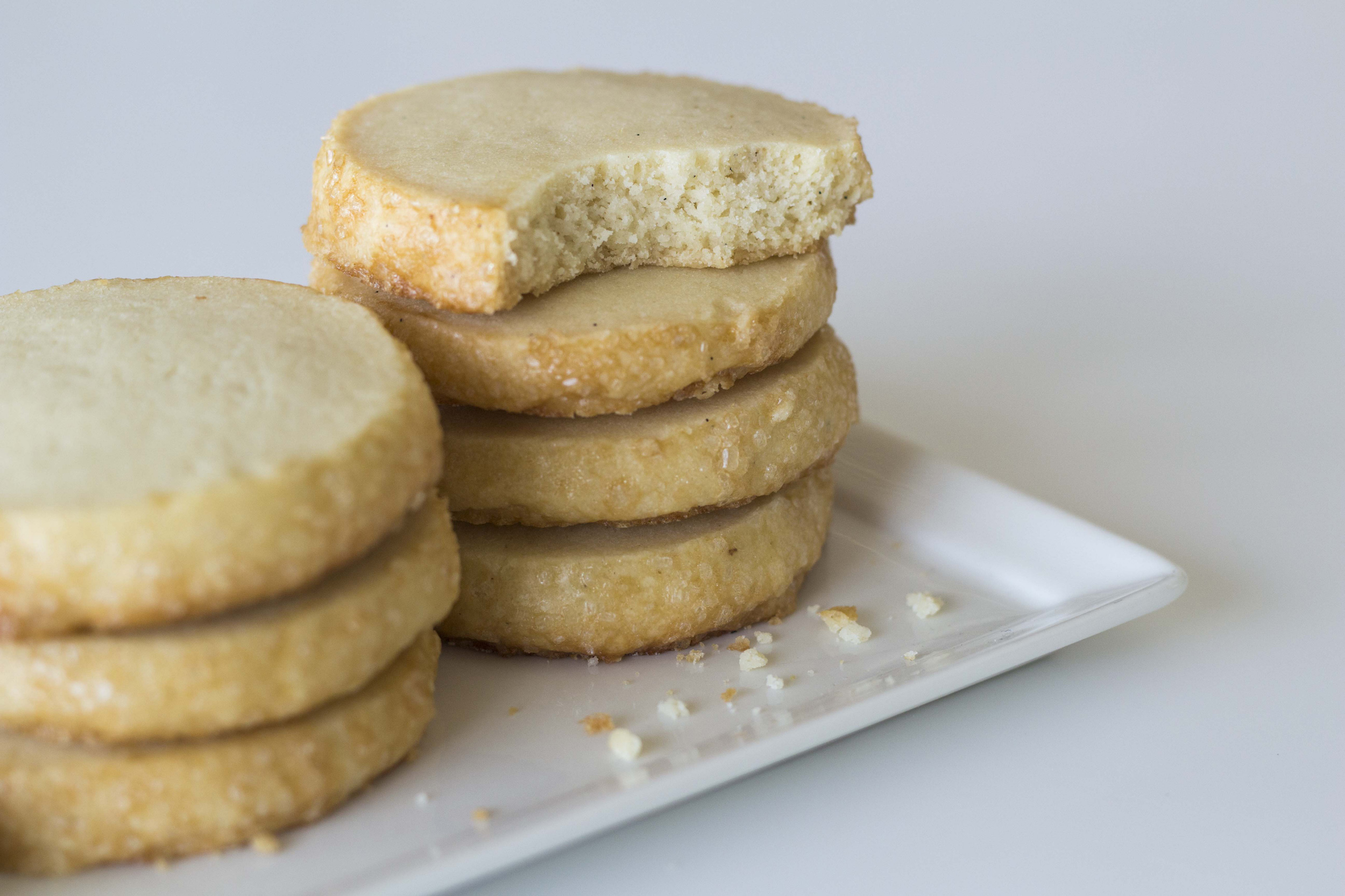 Vanilla Bean Shortbread - Sweet crunch of raw sugar and vanilla bean in a tender cookie