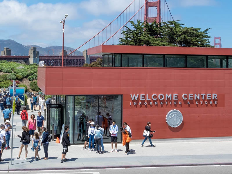 Golden Gate Bridge Welcome Center, San Francisco - In 2012, for the 75th anniversary of San Francisco's most iconic structure, the Bridge District partnered with the Parks Conservancy to create and design the first on-site center dedicated to the Golden Gate Bridge. One of the most visited sites in the Bay Area, the center hosts millions of visitors each year.