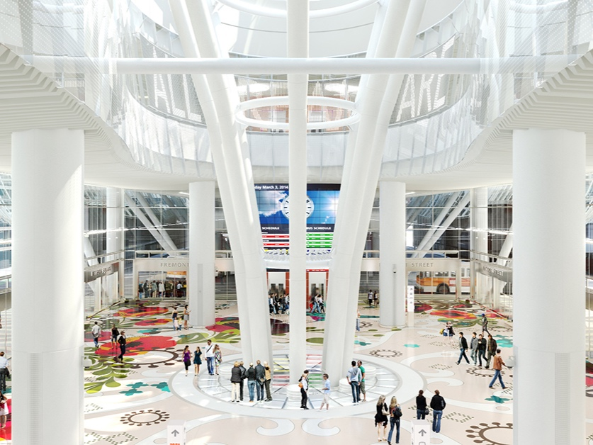 Salesforce Transit Center, San Francisco - Salesforce Park is multi use space providing leisure, activity, and transit for employees and residents alike. The park is composed of curving concrete paths that lead visitors through different settings.