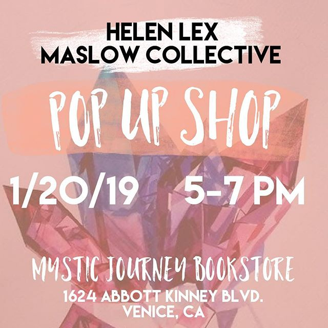 Maslow Collective POP UP SHOP tomorrow with @helenlexjewelry and @mysticjourneyla from 5-7 PM. 1264 Abbott Kinney in Venice CA. Make sure to get your prayer candles and jewelry and get some good vibes. #maslowcollective #helenlex #mysticjourney #mysticjourneybookstore #venice #venicebeach #candles #prayercandles