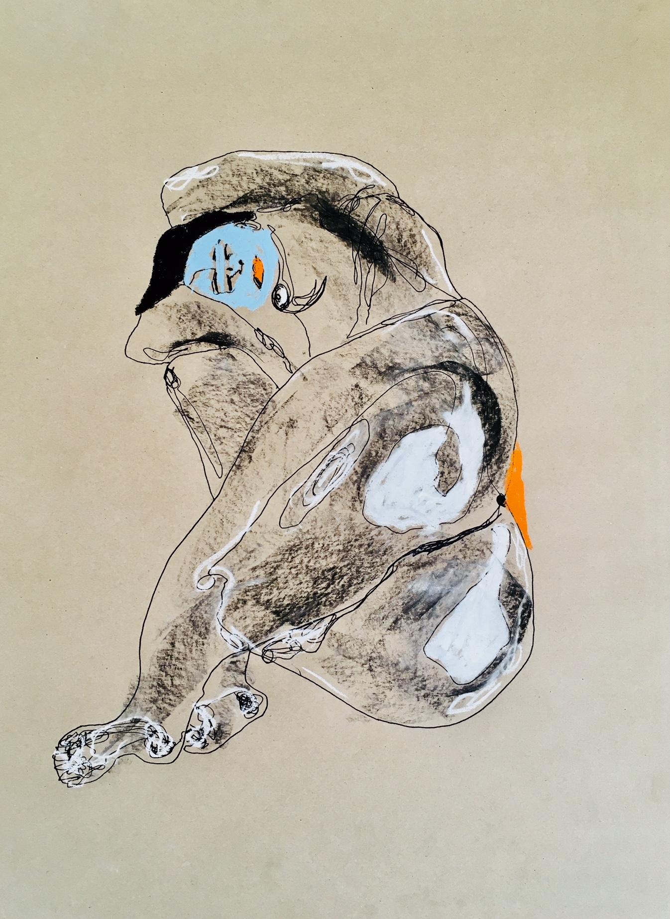 'Baby Blue' - 2018 59x42cm. charcoal/pastel/pen