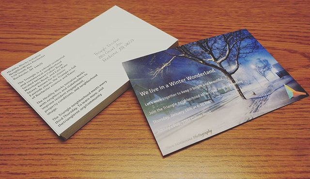 Ooh, it's our 200th post!! Sending out post cards now featuring Mr. Montanino's magical shot on Merchants... PS - meeting is next Thursday the 18th, 6:30 at Johnnys! Bring a friend! ❄ #trythetriangle #postcard #invitation #friendly #neighborhood #welcome