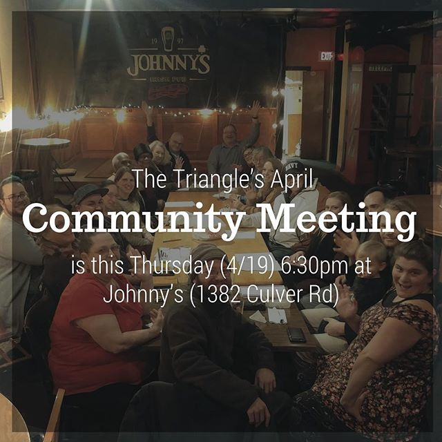 Grab a drink and meet your neighbors! We hope to see many new faces at our monthly meeting this Thursday 6:30pm at Johnny's. #trythetriangle @northwintonvillage #northwinton #rochester #roc