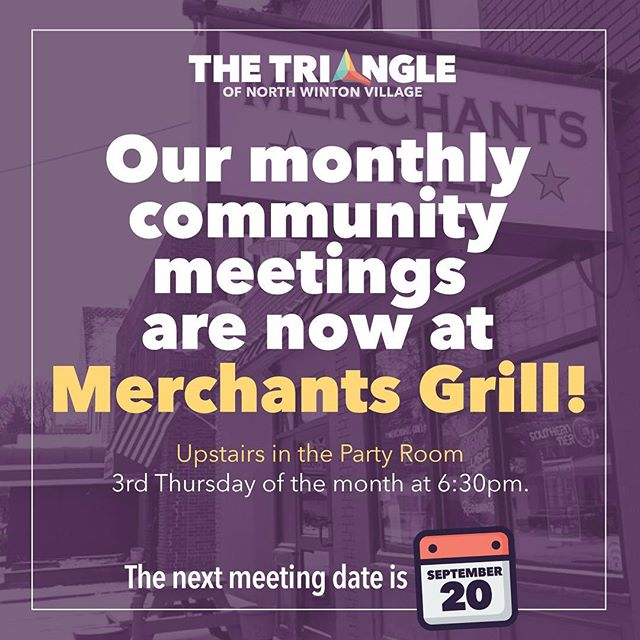 We are happy to announce that starting September 20th our monthly community meetings will now be at Merchants Grill! The meeting date and time is staying the same. 3rd Thursdays of the Month at 6:30pm. We hope to see you all there! #trythetriangle #thisisroc @northwintonvillage #northwinton #rochesterny