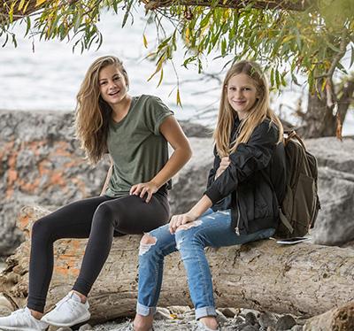 happy school students outdoor