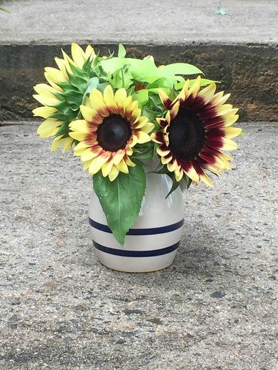 A small bouquet in a mason jar
