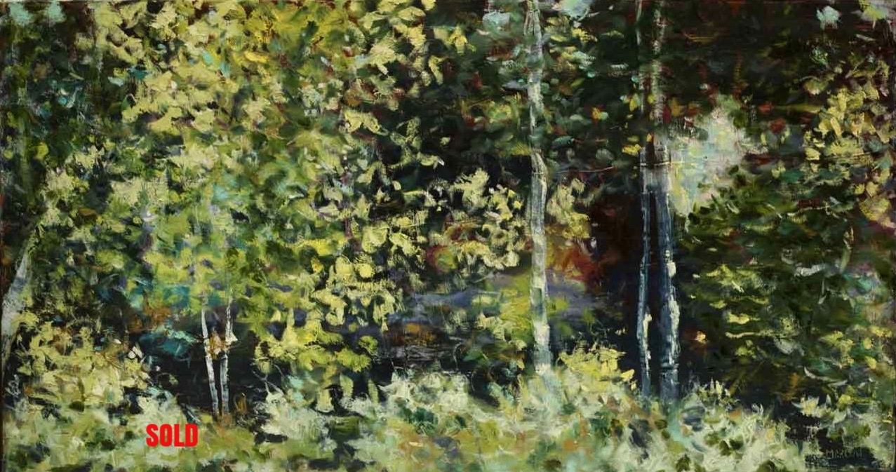 """Walk in the Woods"" (3)  18""x36"" oil on canvas SOLD"