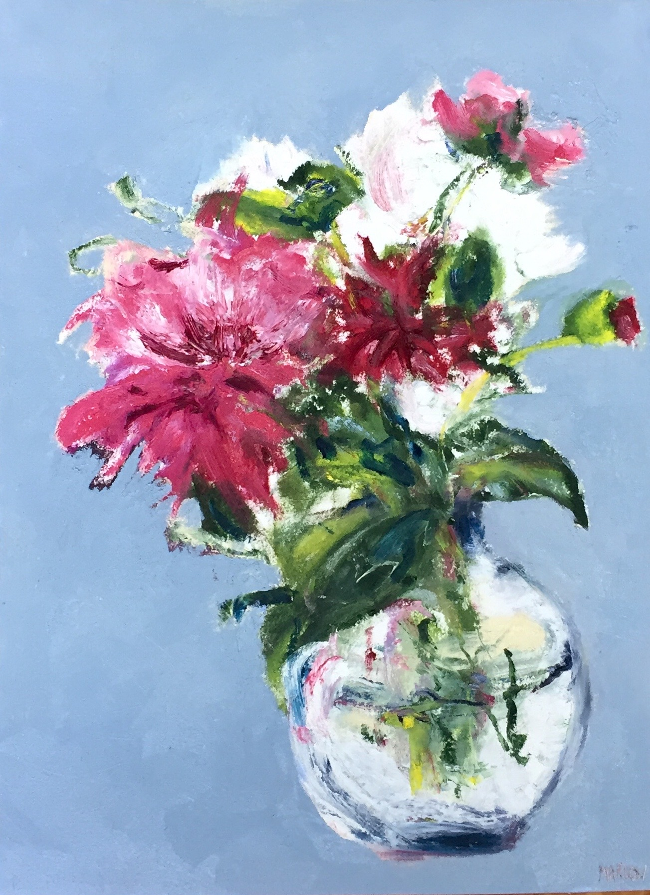 "'Flowers for you"" Oil on Paper 9""x13"""