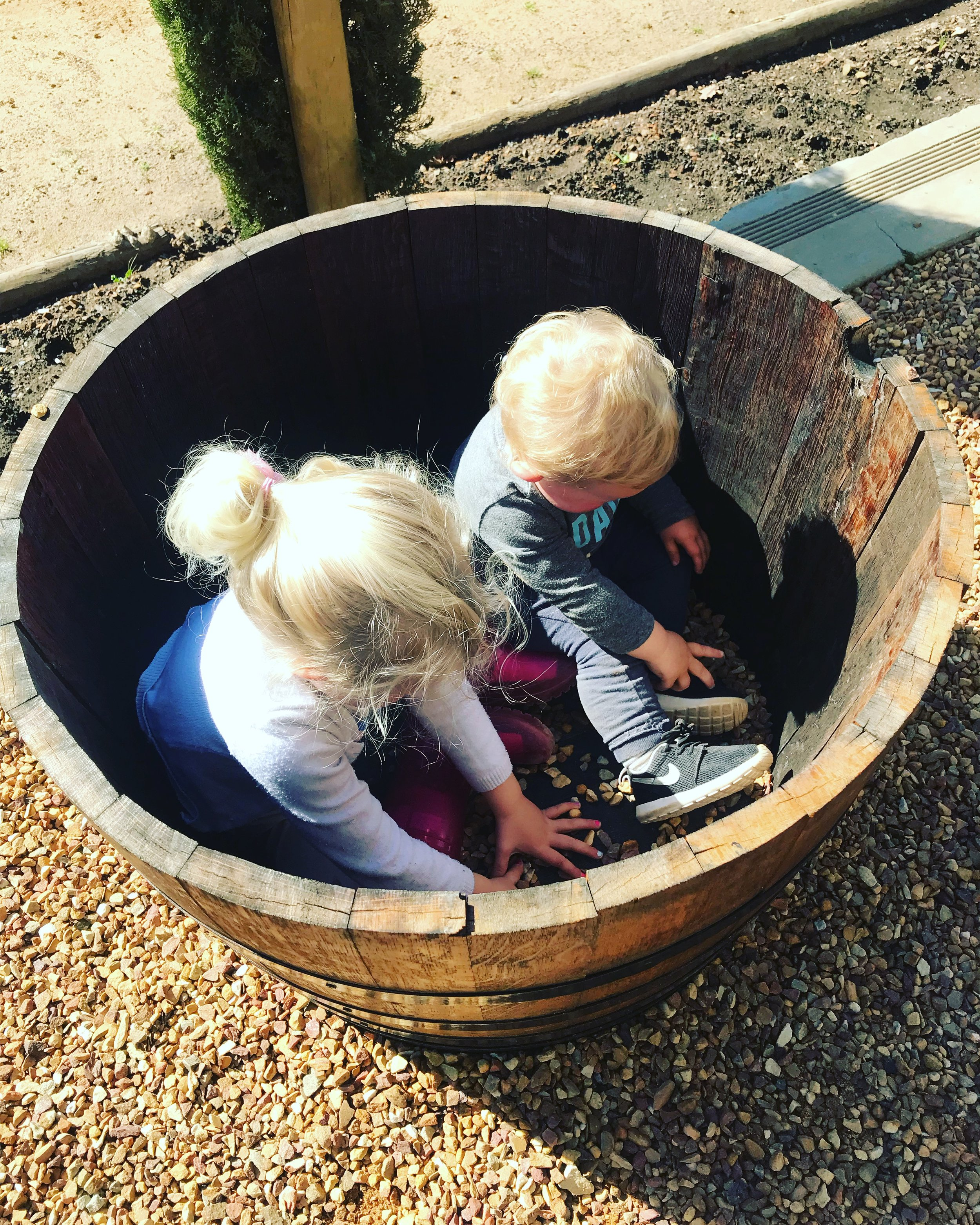 apologies that this is not an accurate depiction of the play area or restaurant; this is at the wine tasting centre which is not kid friendly which is why they were in the wine barrels :D