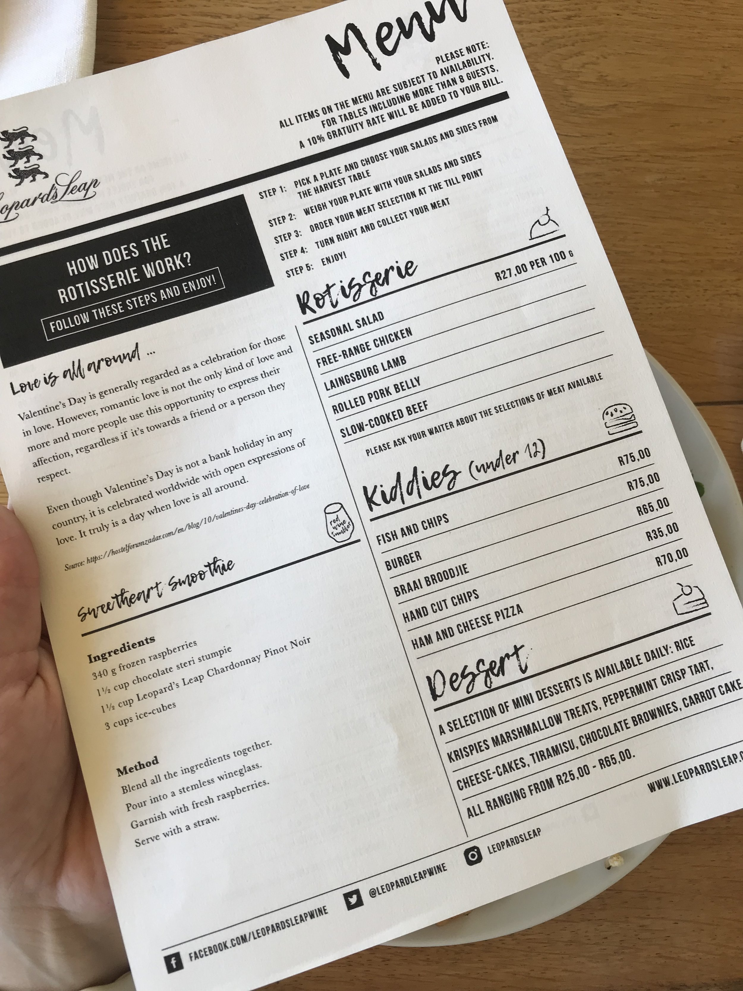 Menu explains how the lunch works