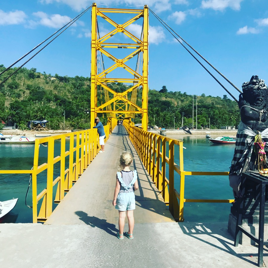 The infamous yellow bridge that connects Nusa Lembongan to Ceningan Island