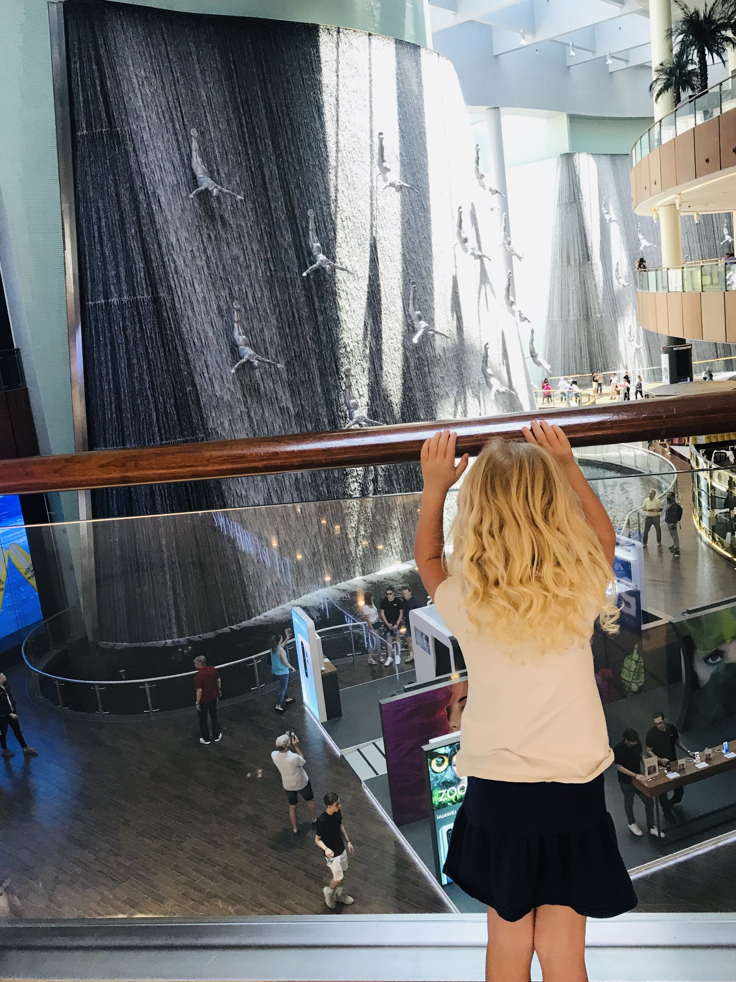 The indoor waterfall at The Dubai Mall