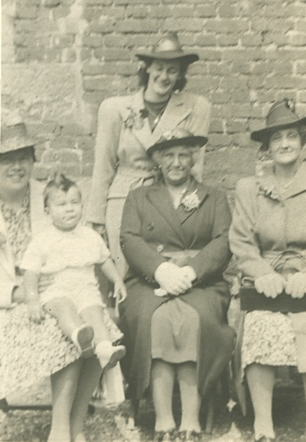 Joyce Board in 1943, with her Aunty Amy, baby cousin Garry, grandmother Olivia and mother Emily.