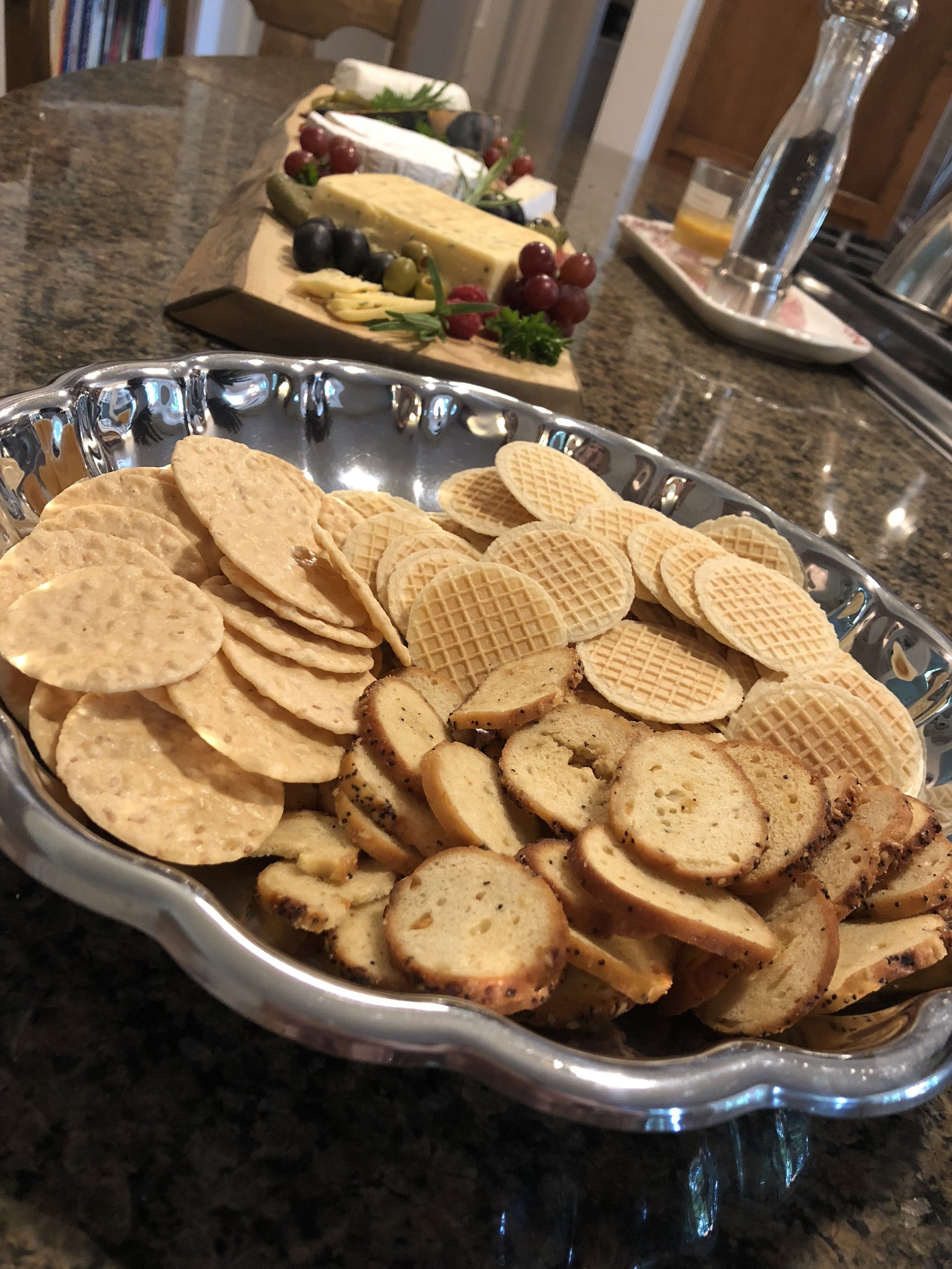 I put a variety of crackers in a separate basket.