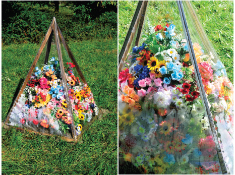 Pyramid of Plastic Flowers