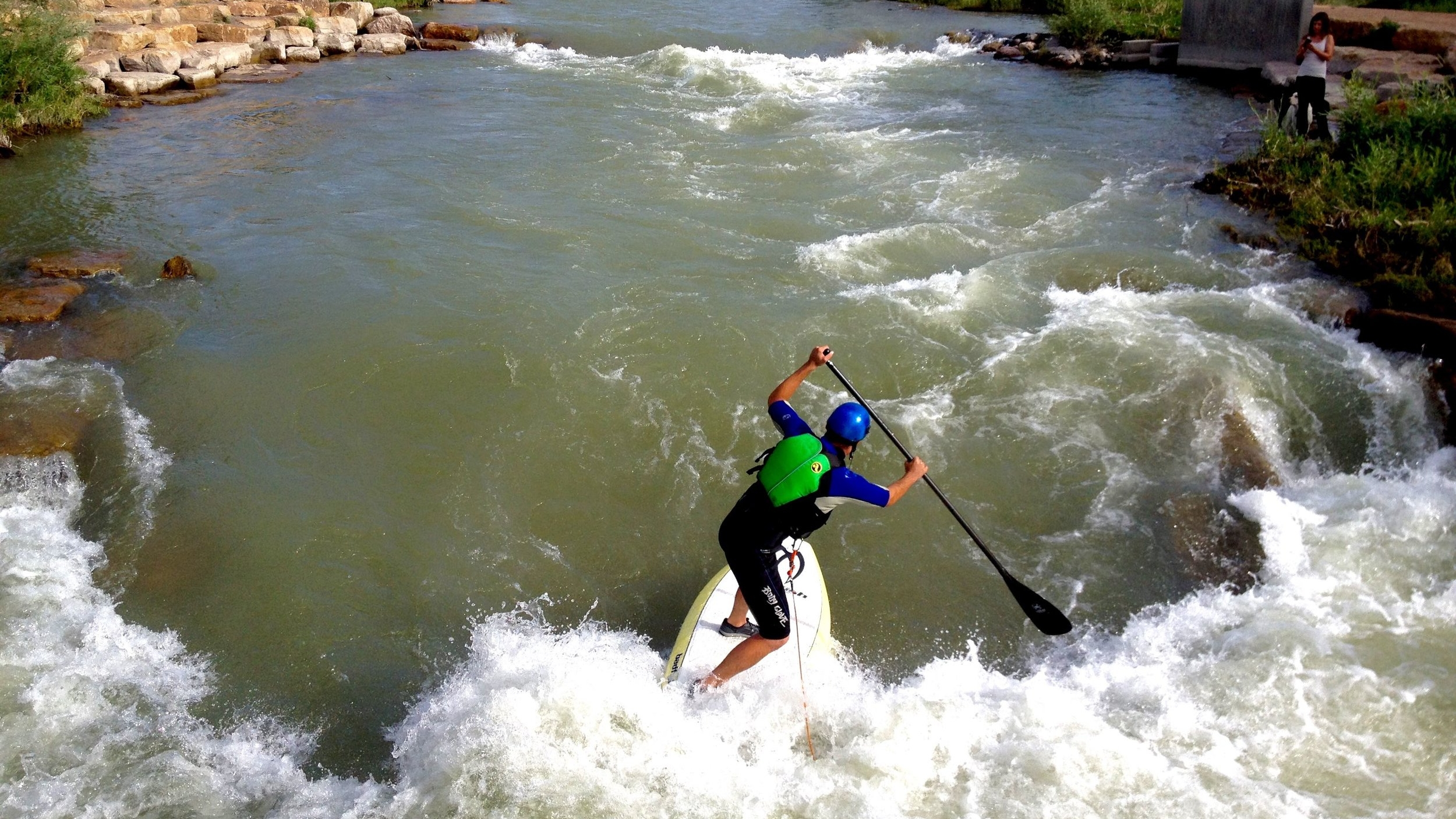 SUP surfing Montrose Colorado Watersports Park at Riverbottom Park