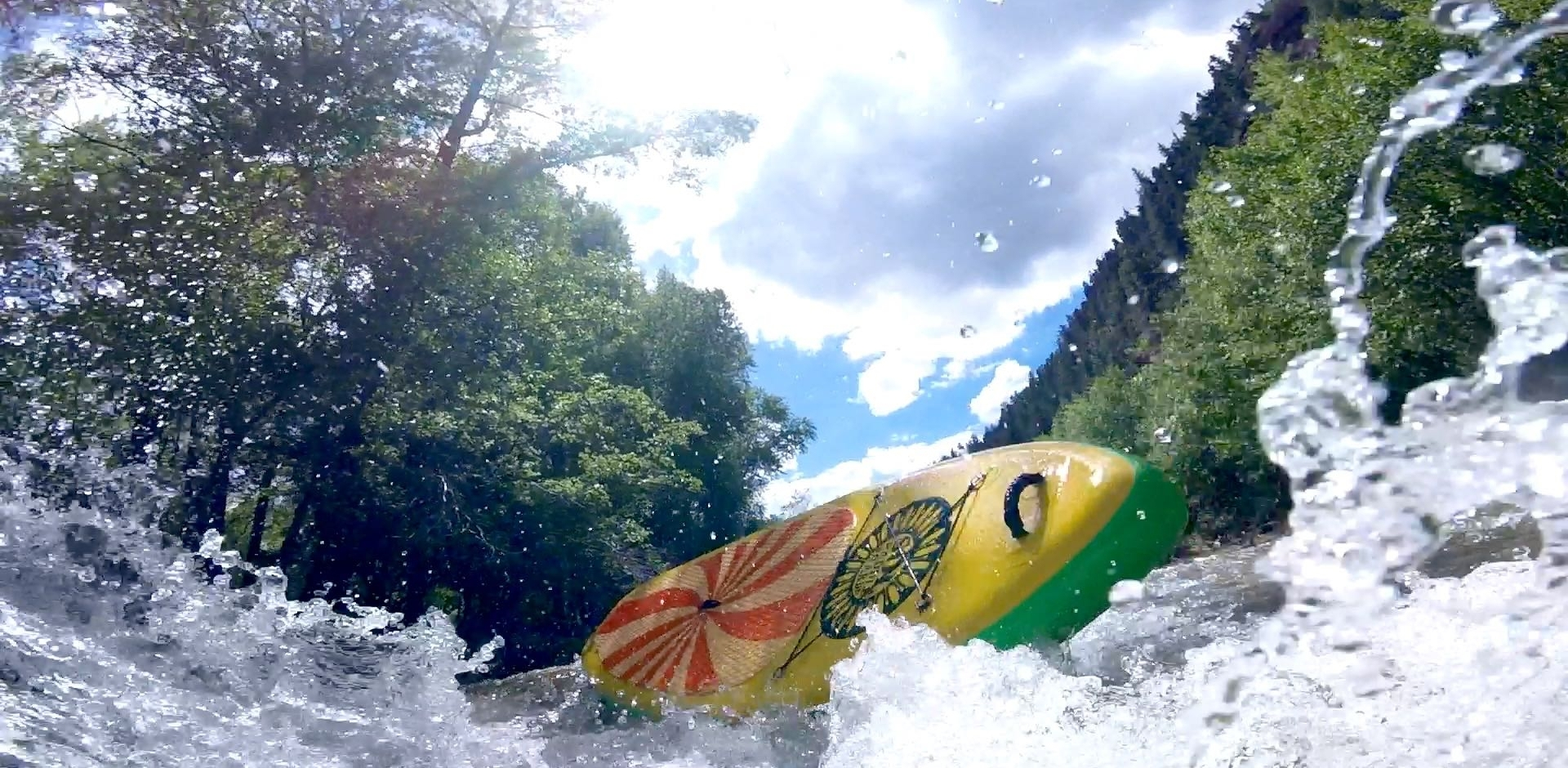 Whitewater SUP wipeout San Miguel River near Telluride, Colorado
