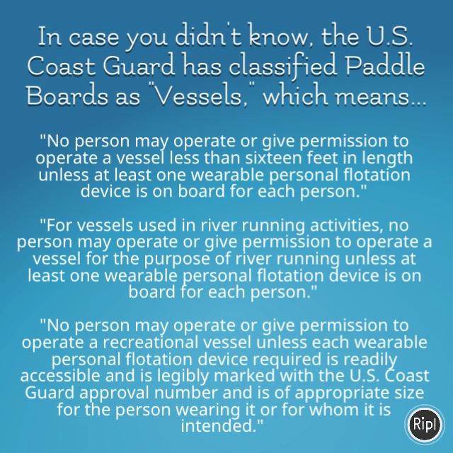 U.S. Coast Guard stand up paddle board PFD regulations