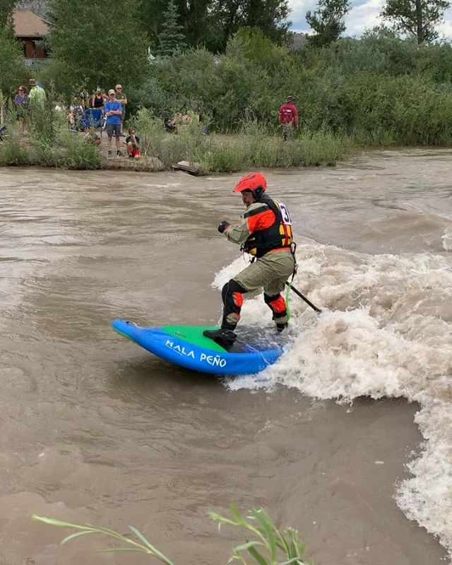 Surfs up in Ridgway! Looking for some fun, fast, rowdy whitewater action? The Uncompahgre River is pumping from snowmelt and is a blast right now! #surfsup 🌊🏄