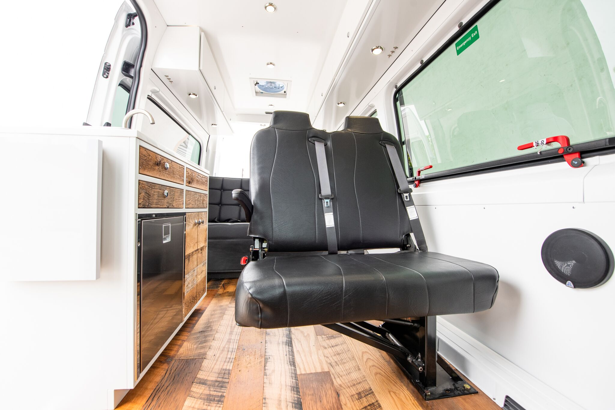 Two Passenger Foldaway Seat - Can be folded into the wall when not in use to quickly free up space in your van. For Mercedes Sprinter®, Dodge Pro-Master® and Ford Transit® vans.