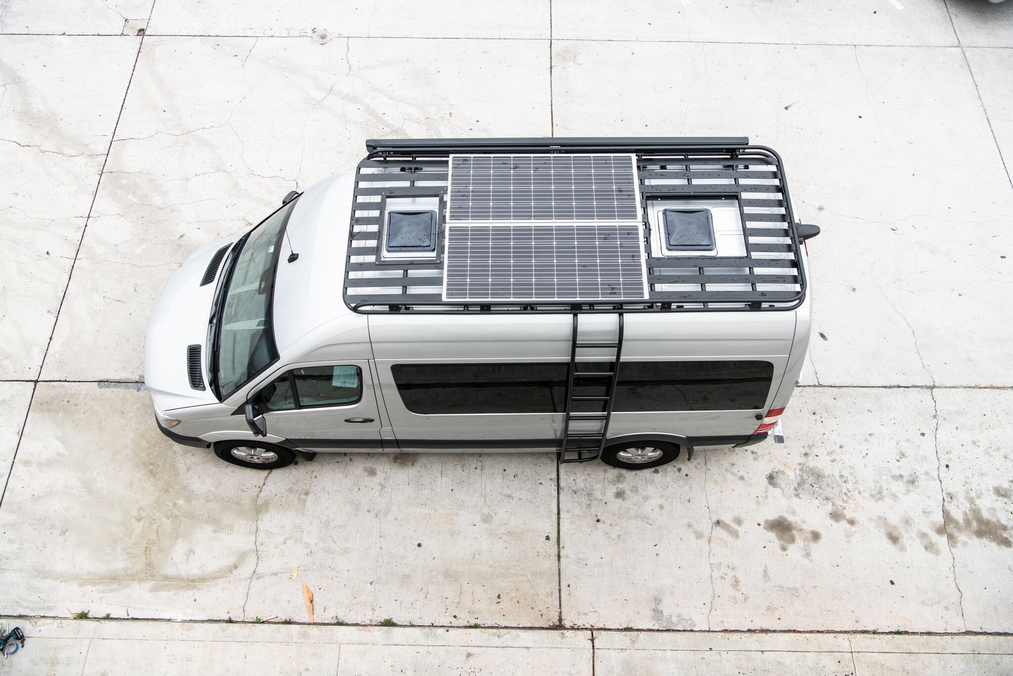 360 Watt Solar System - Includes: wiring, solar charger, two 180 watt solar panels. Designed to be installed on our roof rack or mounted to the factory track rails.