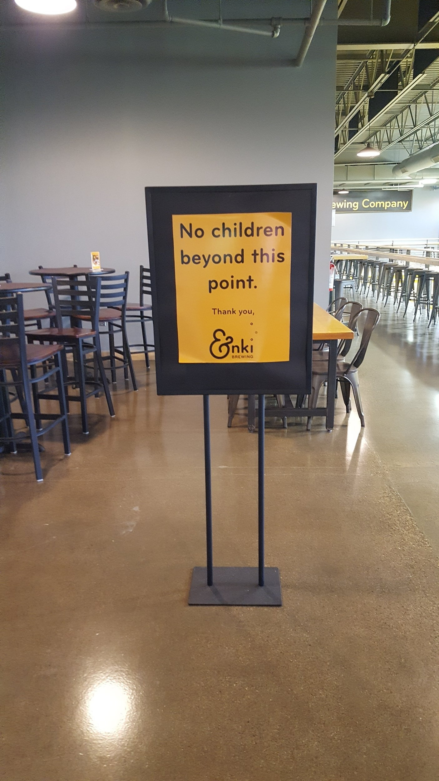 I realize this is probably because the brewing facility is right there, but sometimes it's nice to have a child free zone :)