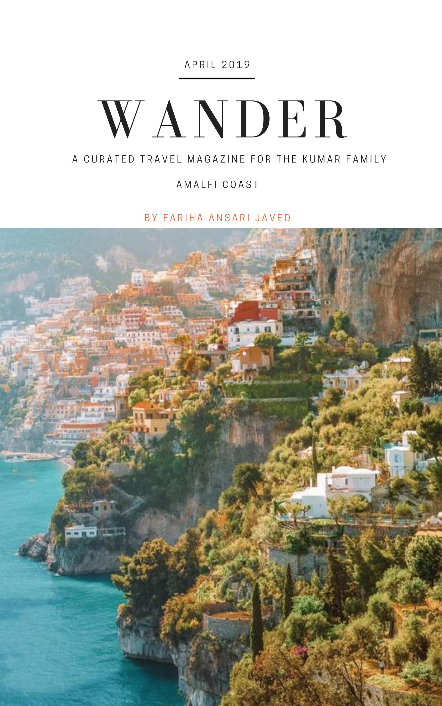 Wander travel Fariha ansari javed Amalfi