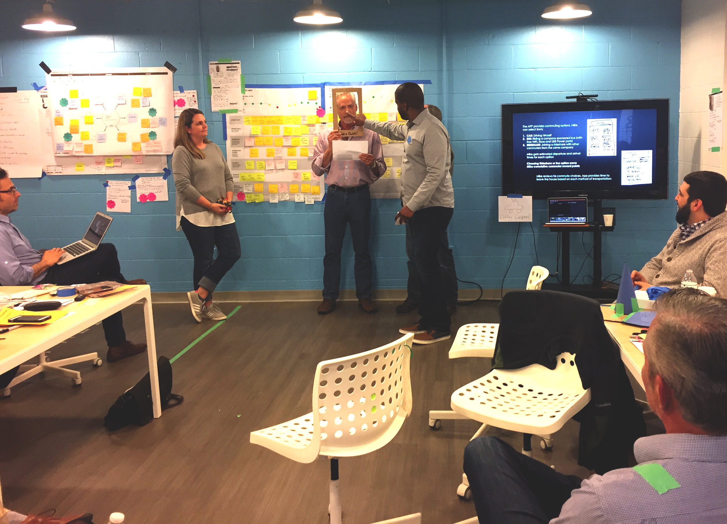 A team acts out their idea (complete with human animation) during a 2 day service design fundamentals training.