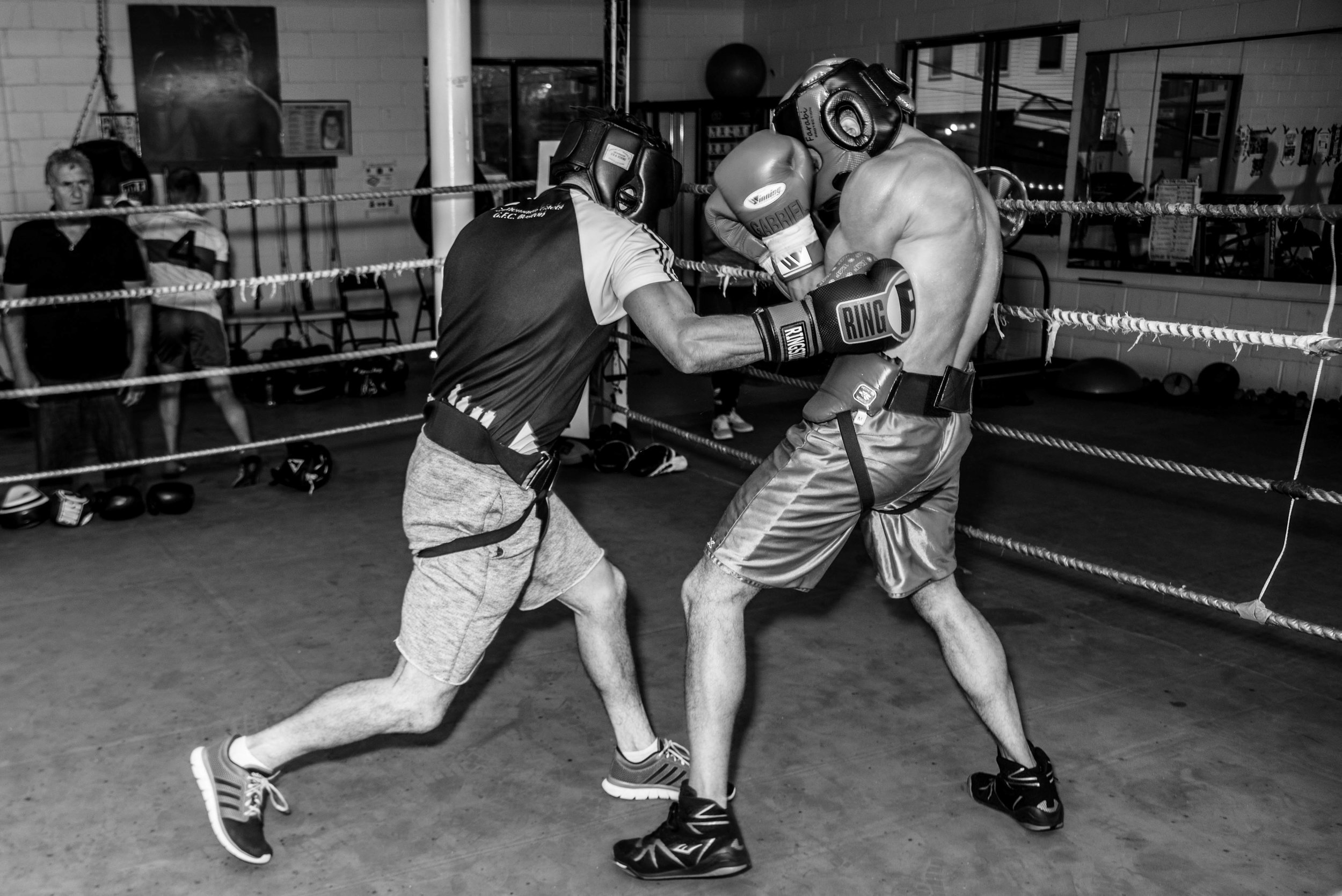 Paddy McGee sparring with Gabe DeLuca, at Grealish Boxing Club, Boston