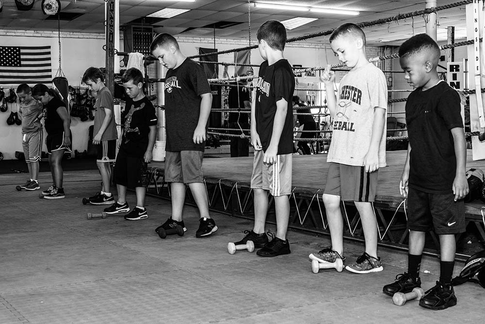 Some of the Grealish Boxing Club youth members during their boxing training session.