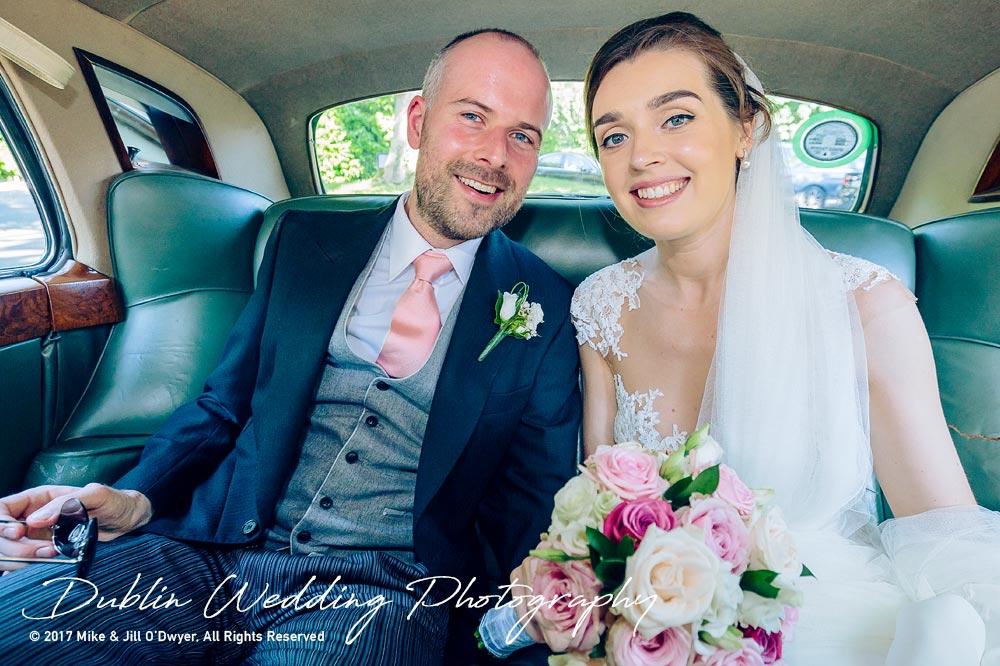 Marlfield House Wedding  Bride & Groom In The Car