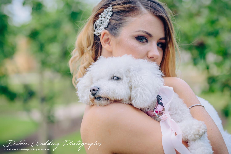 Cliff at Lyons wedding Bride & pet dog