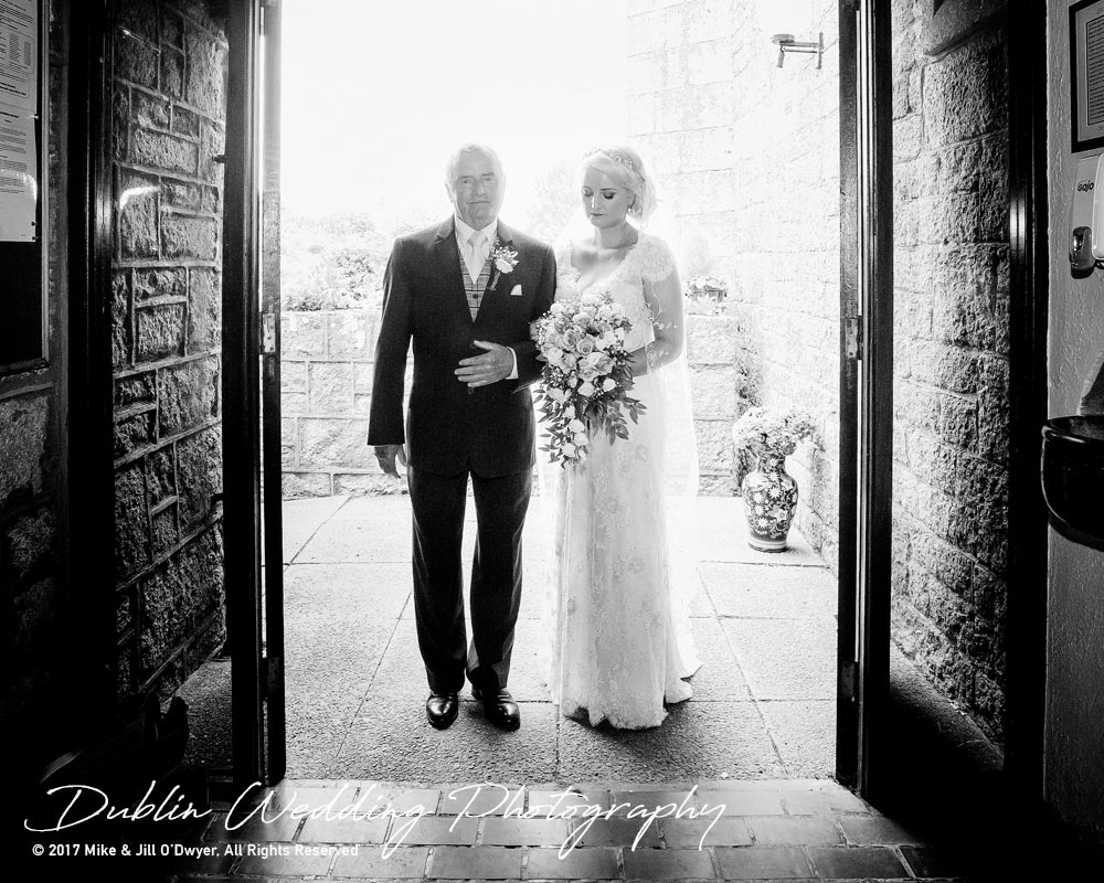 Wedding Photographer Carlow Father of the Bride & Bride at Church Entrance
