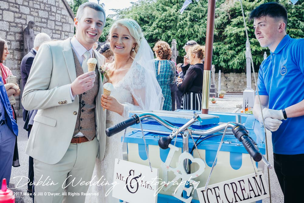 Wedding Photographer Carlow Bride & Groom and Ice Cream