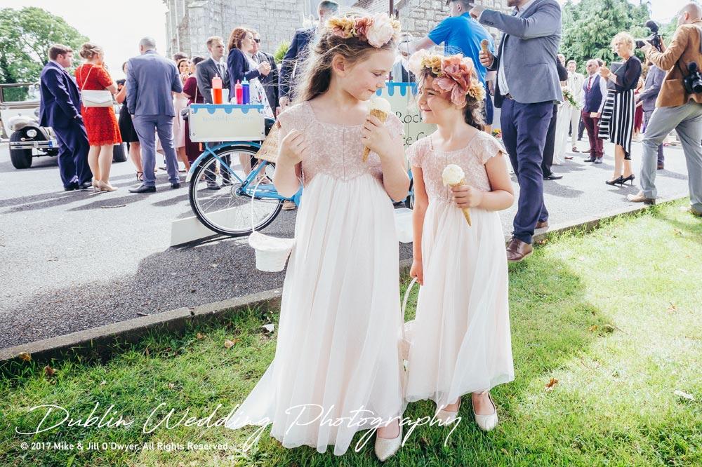 Wedding Photographer Carlow Flowergirls and Ice Cream